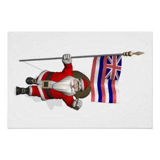 Santa Claus With Ensign Of Hawaii Perfect Poster