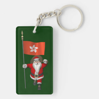 Santa Claus With Ensign Of Hong Kong Double-Sided Rectangular Acrylic Keychain