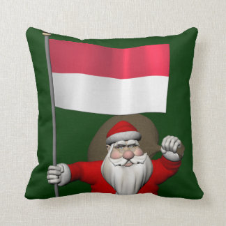 Santa Claus With Ensign Of Indonesia Throw Pillow