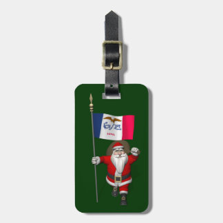Santa Claus With Ensign Of Iowa Bag Tags