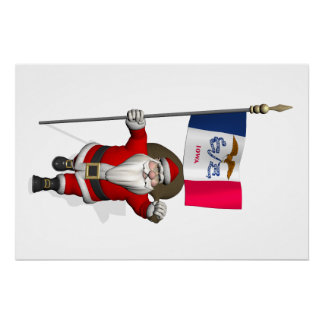 Santa Claus With Ensign Of Iowa Perfect Poster