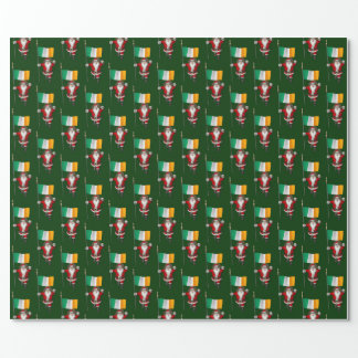 Santa Claus With Ensign Of Ireland Wrapping Paper