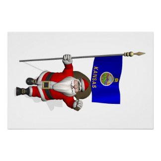 Santa Claus With Ensign Of Kansas Perfect Poster