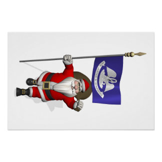 Santa Claus With Ensign Of  Louisiana Perfect Poster