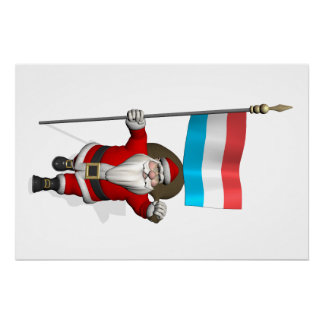 Santa Claus With Ensign Of Luxembourg Perfect Poster