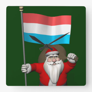 Santa Claus With Ensign Of Luxembourg Wallclock
