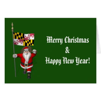 Santa Claus With Ensign Of Maryland Card