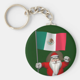 Santa Claus With Ensign Of Mexico Basic Round Button Keychain