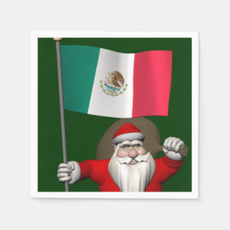 Santa Claus With Ensign Of Mexico Paper Napkin