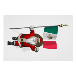 Santa Claus With Ensign Of Mexico Perfect Poster