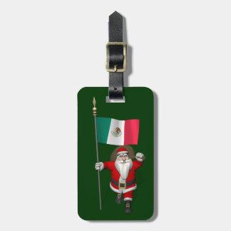 Santa Claus With Ensign Of Mexico Tag For Bags