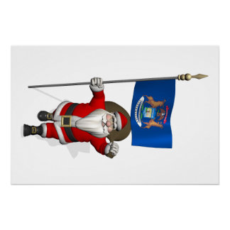 Santa Claus With Ensign Of Michigan Perfect Poster