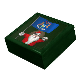 Santa Claus With Ensign Of Michigan Trinket Boxes