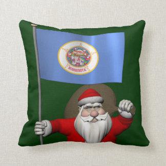 Santa Claus With Ensign Of Minnesota Throw Pillow