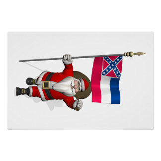 Santa Claus With Ensign Of Mississippi Perfect Poster