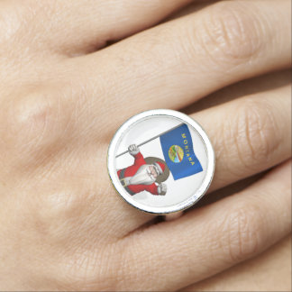 Santa Claus With Ensign Of Montana Photo Ring