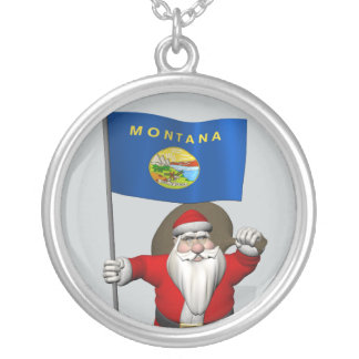 Santa Claus With Ensign Of Montana Silver Plated Necklace