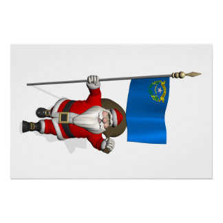 Santa Claus With Ensign Of Nevada Perfect Poster