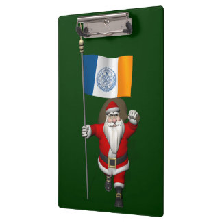 Santa Claus With Ensign Of New York City Clipboard