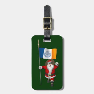 Santa Claus With Ensign Of New York City Luggage Tags
