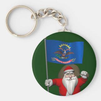 Santa Claus With Ensign Of North Dakota Basic Round Button Keychain