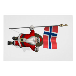 Santa Claus With Ensign Of Norway Perfect Poster