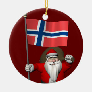Santa Claus With Ensign Of Norway Round Ceramic Ornament