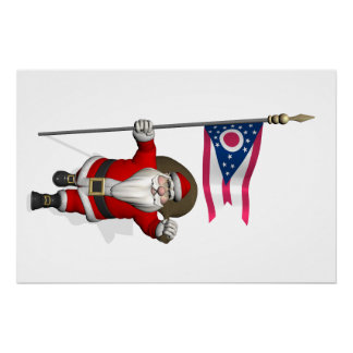 Santa Claus With Ensign Of Ohio Perfect Poster