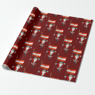Santa Claus With Ensign Of Österreich Wrapping Paper