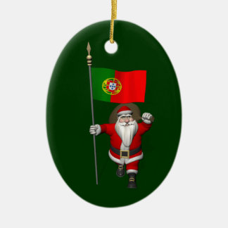 Santa Claus With Ensign Of Portugal Ceramic Oval Ornament