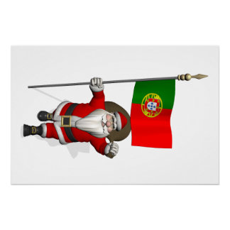 Santa Claus With Ensign Of Portugal Perfect Poster