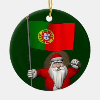 Santa Claus With Ensign Of Portugal Round Ceramic Ornament