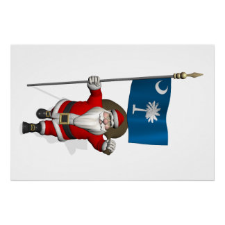 Santa Claus With Ensign Of South Carolina Perfect Poster