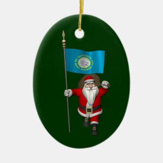 Santa Claus With Ensign Of South Dakota Ceramic Oval Ornament