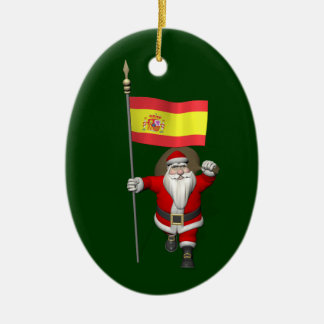 Santa Claus With Ensign Of Spain Ceramic Oval Ornament
