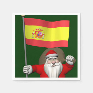 Santa Claus With Ensign Of Spain Disposable Napkin
