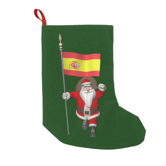 Santa Claus With Ensign Of Spain Small Christmas Stocking
