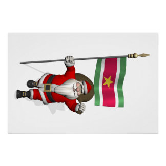 Santa Claus With Ensign Of Suriname Perfect Poster