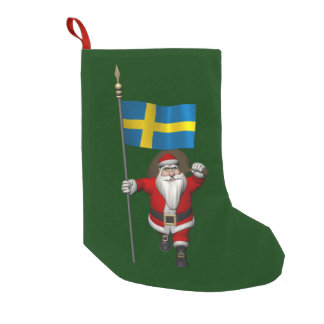 Santa Claus With Ensign Of Sweden Small Christmas Stocking