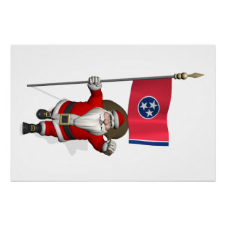 Santa Claus With Ensign Of Tennessee Perfect Poster