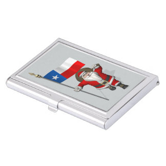 Santa Claus With Ensign Of Texas Business Card Case