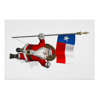 Santa Claus With Ensign Of Texas Perfect Poster