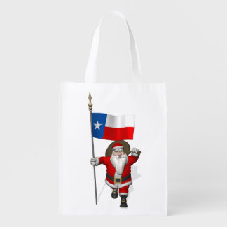 Santa Claus With Ensign Of Texas Reusable Grocery Bag