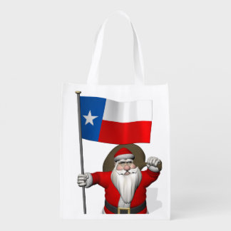 Santa Claus With Ensign Of Texas Reusable Grocery Bags