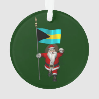 Santa Claus With Ensign Of The Bahamas Ornament
