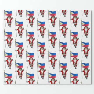 Santa Claus With Ensign Of The Philippines Wrapping Paper