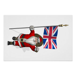 Santa Claus With Ensign Of The UK Perfect Poster
