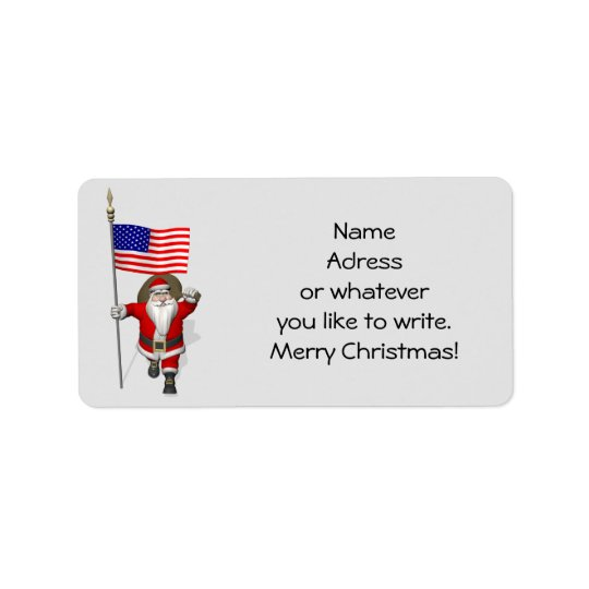 Santa Claus With Ensign Of The USA Label