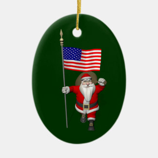 Santa Claus With Ensign Of The USA Double-Sided Oval Ceramic Christmas Ornament