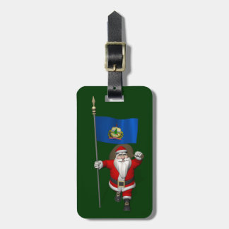 Santa Claus With Ensign Of Vermont Travel Bag Tags